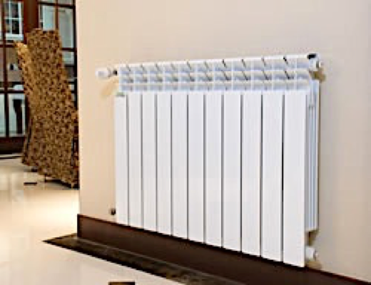 radiador aluminio montado en pared de salón